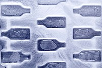 Bottles under ice crust, elevated view