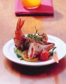 Calamaretti stuffed with shrimps