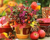 Arrangement of rose hips and holly