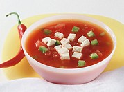 Tomato and pepper soup with sheep´s cheese