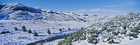 Panoramic view of winter snow in the Los Padres National Forest Wilderness area known as the Sespe