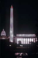 United States Capitol Building, Washington Monument and Lincoln Memorial at Night, Washington, D.C.