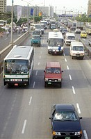 Traffic on the streets of Beijing, People's Republic of China