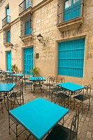 Turquoise tables and doorways in the historic section of Old Havana