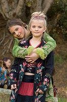 Portrait of young girls outdoors