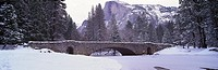 Panoramic view of bridge in winter