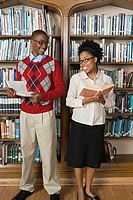 Boy and girl in library