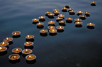 Floating Candles on the Gange River as offerings to the Water god,