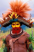 Huli Wigman preparing for sing-sing.Papua New Guinea