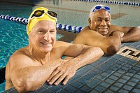 Two Senior Men At Poolside