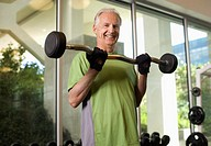 Senior Man Lifting Weights (thumbnail)