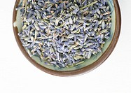 Bowl of dried lavender flowers