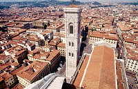 Campanile tower (1334-1359, architect Giotto) of Santa Maria del Fiore cathedral, Florence. Tuscany, Italy