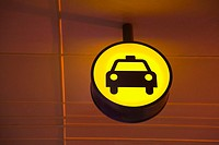 Illuminated Taxi Sign at Airport