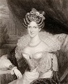 Amelia Adelaide Louise Therese Caroline of Saxe_Coburg Meiningen 1792 to 1849 Aunt to Queen Victoria  Queen to William IV of England  Engraved by H Co...