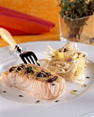 Salmon in papillote and an endive salad - Recipe of Guy Martin - Le Grand Véfour Restaurant - Paris - France