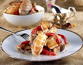 Chicken fricassée with Dublin bay prawns, cèpes and sun-dried tomatoes - Recipe of Guy Martin - Le Grand Véfour Restaurant - Paris - France