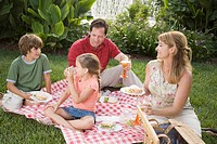 Family having a picnic in garden