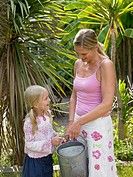 Mother and daugter gardening