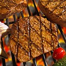 Close-up of grilled steaks with vegetables on a barbecue grill