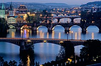 Charles Bridge (Karluv Most), Prague's most famous, was built in 1357 by Emperor Charles IV on the site of an older bridge. On the left are (L. to R.)...