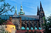 Castle Quarter: St. Vitus Cathedral, powder tower. Prague. Bohemia. Czech Republic