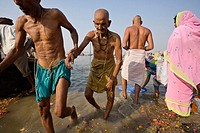 An old man being helped out of the Ganges after having taken in holy bath during the Ardh Kumbh Mela in Prayag in january 2007