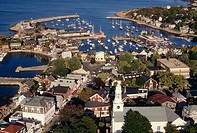 Rockport harbor, Cape Ann, Massachusetts. USA.  Aerial view