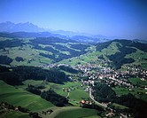scenery, landscape, Heiden, Appenzell, Santis, aerial view, aerial photo, Eastern Switzerland, Europe, Switzerland,