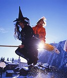 Belalp, witch run, witch, woman, fun, joke, costume, tradition, national custom, tradition, winter, Aletsch, canton Va