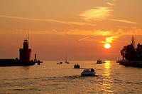 Big Red Lighthouse, lighthouse, red, boats, sundown, mood, dusk, twilight, Michigan lake, shore, lake, Lake Michigan