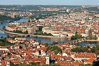 Czech Republic. Prague. Aerial view of the lesser town and the old town. Vltava River, Charles Bridge