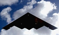 A B-2 Spirit lands at Andersen Air Force Base, Guam, on Sunday, April 30, 2006. B-2s are replacing the B-1B Lancers at Andersen as part of the continu...