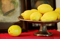 Lemons in fruit bowl, still life
