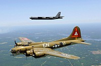 A B-17G Flying Fortress nicknamed 'Thunderchief' participates in a heritage flight with a B-52H Stratofortress from the 2nd Bomb Wing. The 2006 Defend...