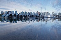 Canada, British Columbia, Vancouver, boats moored at harbour