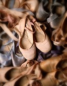 Ballet slippers, elevated view digital enhancement