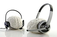 Close-up of headsets on human brains