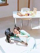 Woman relaxed with dog