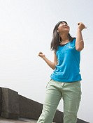 Girl listening to music with dance