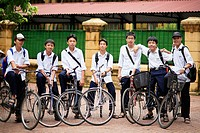 Portrait of teen boys in front of school. The Old Quarter, Hanoi, Vietnam, Indochina, Southeast Asia, Asia 2006