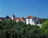 Buildings in town surrounded by trees, Baden_Wurttemberg, Germany