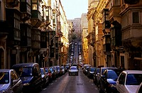 Cars parked on both sides of street, Valletta, Malta