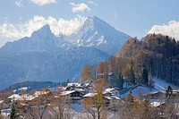 High angle view of rooftops covered with snow, Mt Watzmann, Berchtesgaden, Bavaria, Germany