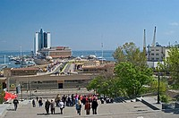 High angle view of harbor in city, Odessa, Odessa Oblast, Ukraine