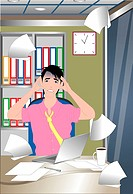 Man stressed with workload