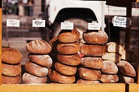 Close-up of stacks of breads