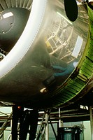 Close-up of a jet engine in a factory, Singapore (thumbnail)