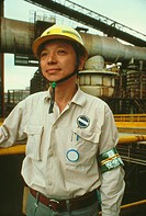 Male foreman at steel industry, Kawasaki, Honshu, Japan