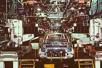 Car in an assembly line, Zama, Kanagawa Prefecture, Japan